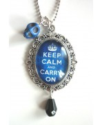 Blue Keep Calm & Skull Necklace