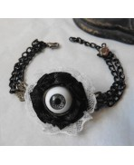 Victorian Eye Bracelet and Lace, Taxidermy, Anatomy, Cabinet of Curiosities