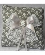 Grey White Skulls Wedding Rings Pillow - Grey, Gothic, Rock, Rockabilly, Wedding