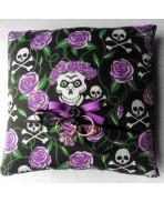 Purple Skulls & Roses Wedding Rings Pillow, Gothic Wedding, Rockabilly, Tattoo, Dias de los Muertos, Valentine