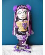 Art Doll Melusine Mermaid of Poitou, Mystic, Gothic, Elven, Siren, Fairy, Purple, Creature, Sea, River, Magic, Mythology