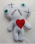 White Conjoined Twins Mummy Voodoo Doll - Siamese, Circus, Freak, Freak Show, Love, Valentine, Wedding