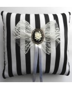 Blac White Stripes Rose Wedding Rings cushion pillow Gothic, Victorian, Baroque, Black wedding, Steampunk wedding, Shabby