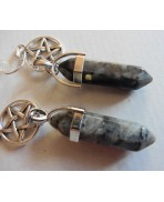 Protection Pentacle Larvikite Point Amulet Earrings, Talisman, Witchcraft, Magic, Pagan, Occult jewelry
