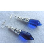 Elven Blue Crystal Point Pendulum Earrings, Pagan Wedding, Magic, Victorian, Mermaid Fairy, Wicca Witch, Gothic