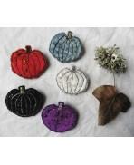 Velvet Pumpkin Cucurbitaceae Textile Brooch, Gothic, Mori girl, Forest spirit, Green Witch, Halloween, Nature, autumn, winter