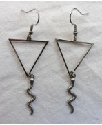 Water Serpent Snake Earrings, Triangle Element Symbol, Minimalist, Reptile, Occult pagan Witch, geometric, Alchemy, Tarot Gypsy