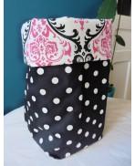 Textile basket Storage tray Textile Bag Baroque pink Black Damask polka dos, Shabby, Gothic, retro