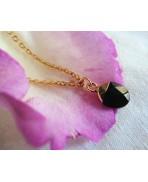 Dainty Minimalist Black Onyx drop gold-plated necklace, Bohemian jewelry, Labradorite, festival, Wedding, Bridesmaid
